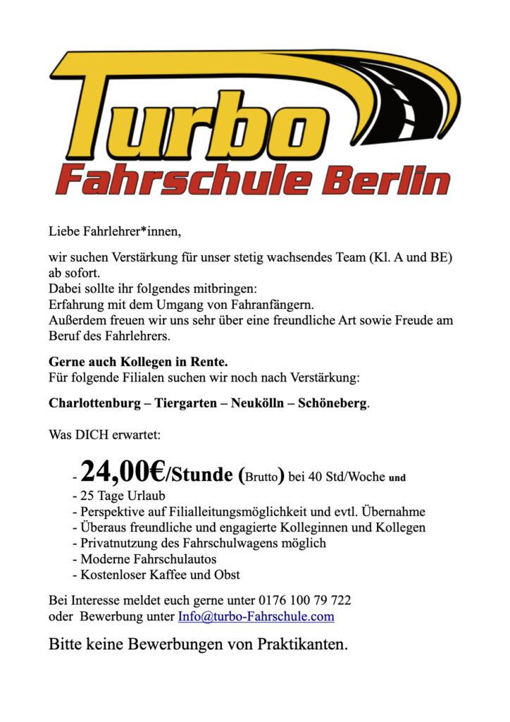 Stellenausschreibung Turbo Fahrschule